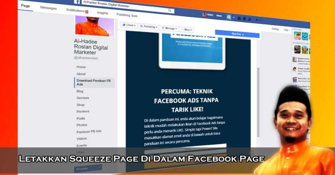 Letakkan Squeeze Page Di Dalam Facebook Page Anda