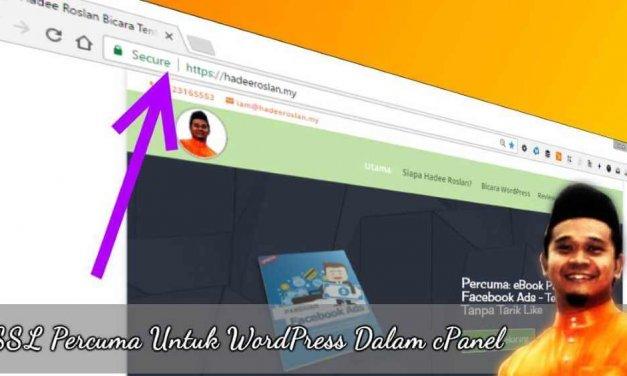 SSL Percuma Untuk Website WordPress Anda