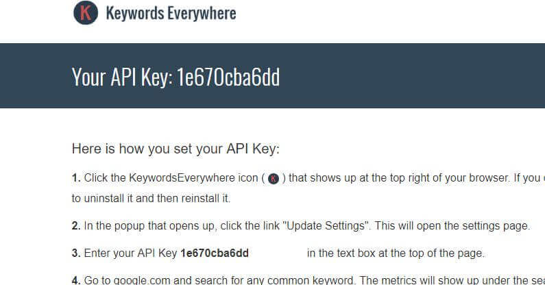 Keywords Everywhere - API Key