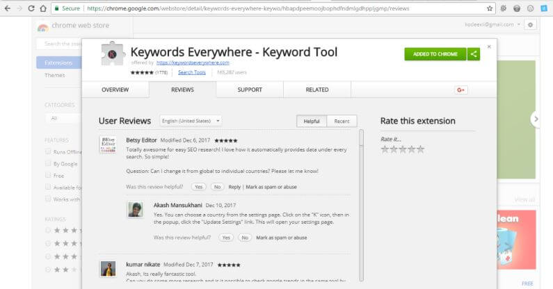 Keywords Everywhere - Chrome Webstore