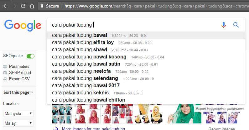 Google Suggests - Cara Pakai Tudung