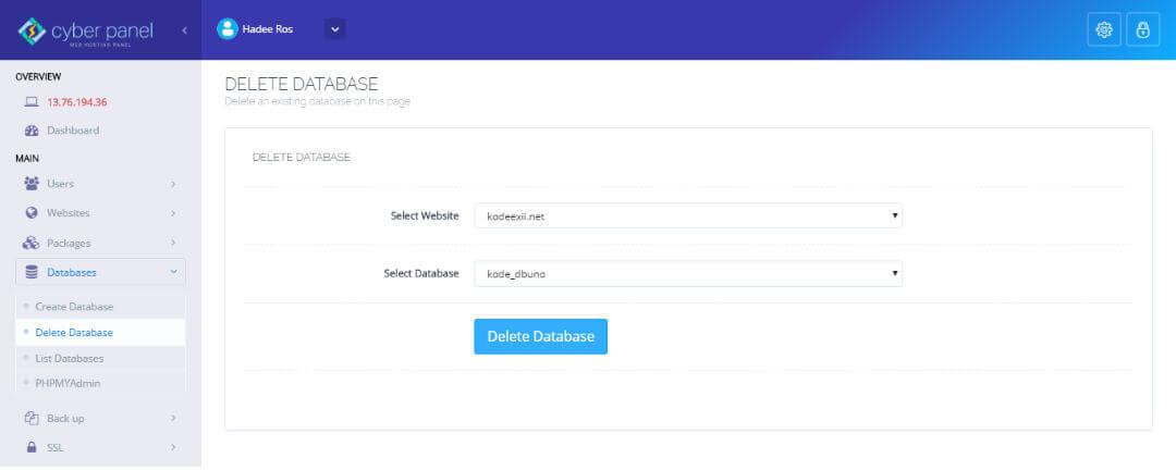 CyberPanel - Delete Database