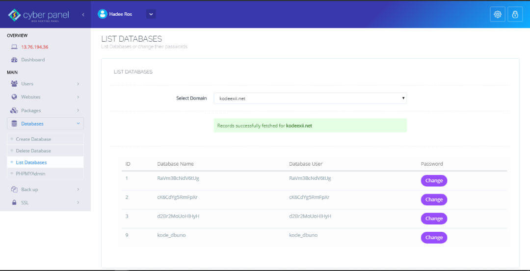 CyberPanel - List Database