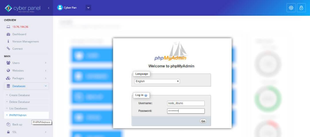 CyberPanel - PHPMyAdmin