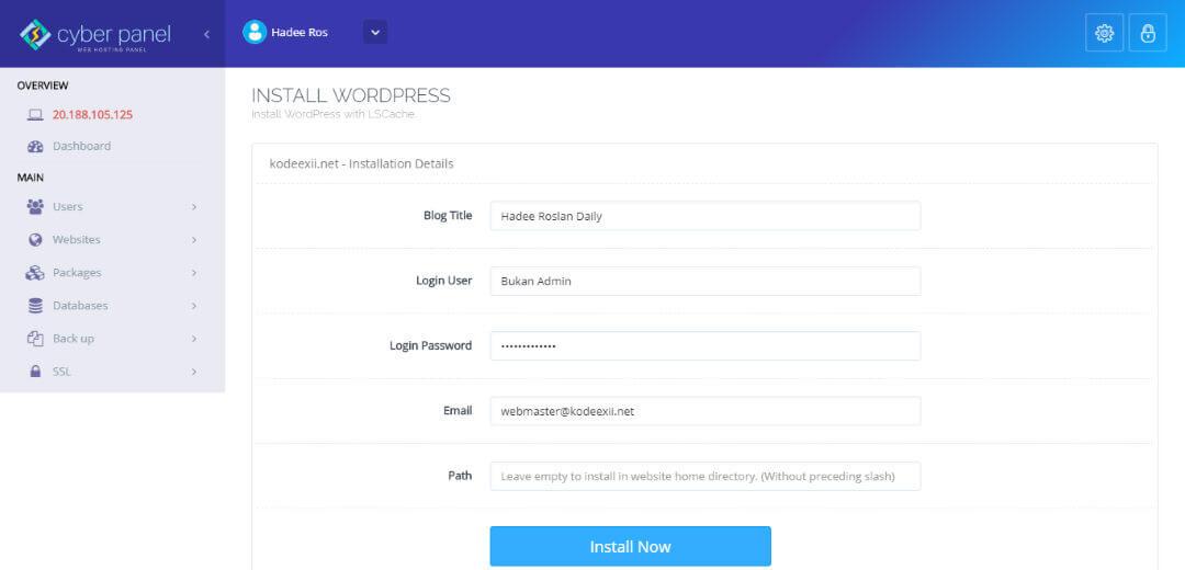 CyberPanel Website Manager - WordPress Installer