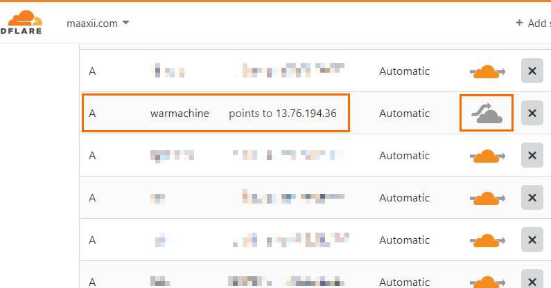 DNS for CyberPanel domain in CloudFlare