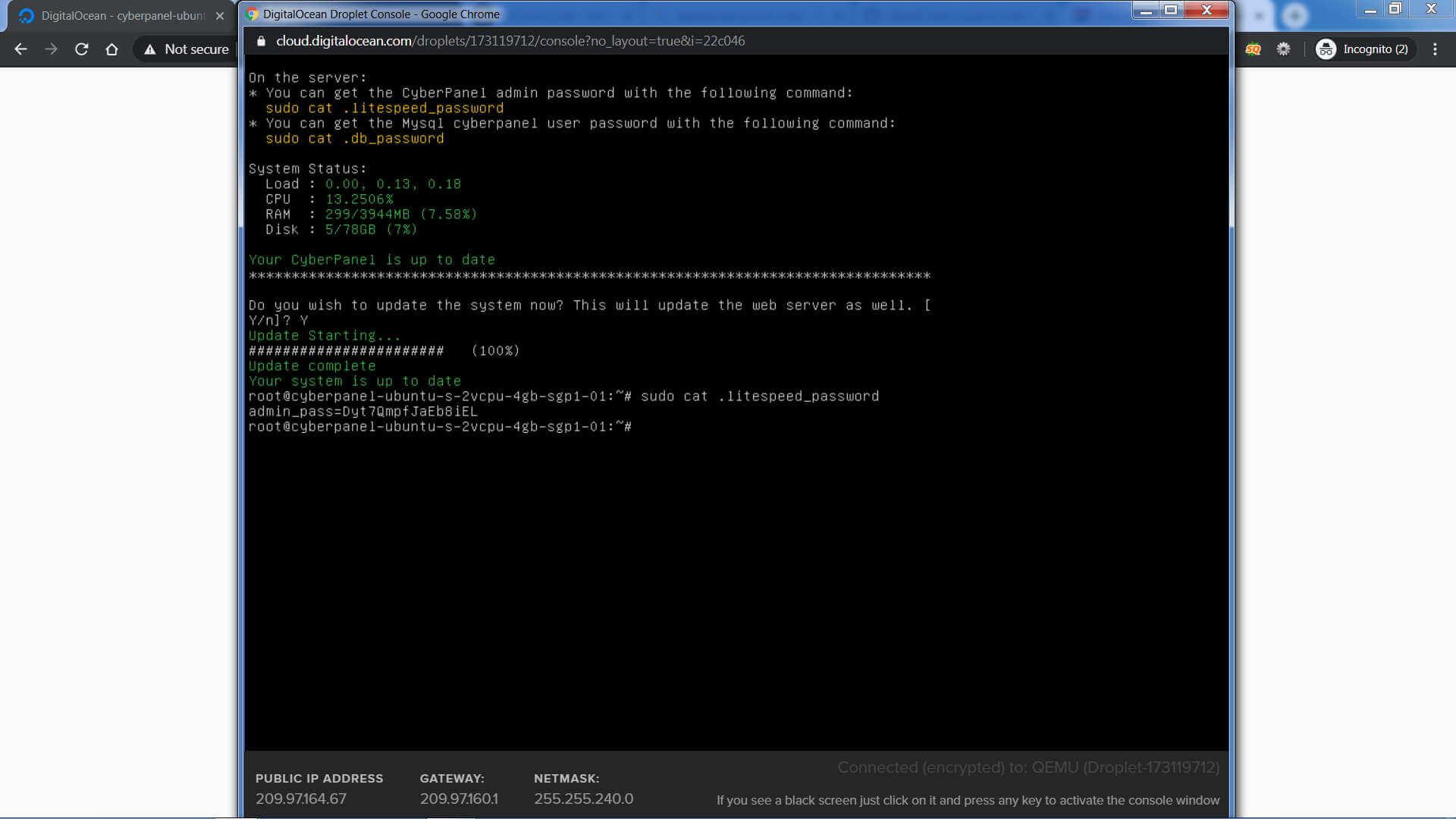 Digital Ocean CyberPanel Admin Password