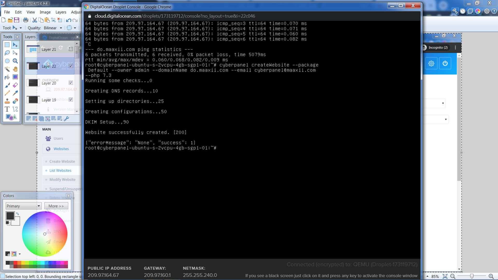 Digital Ocean Droplet Console CyberPanel CLI Create Website