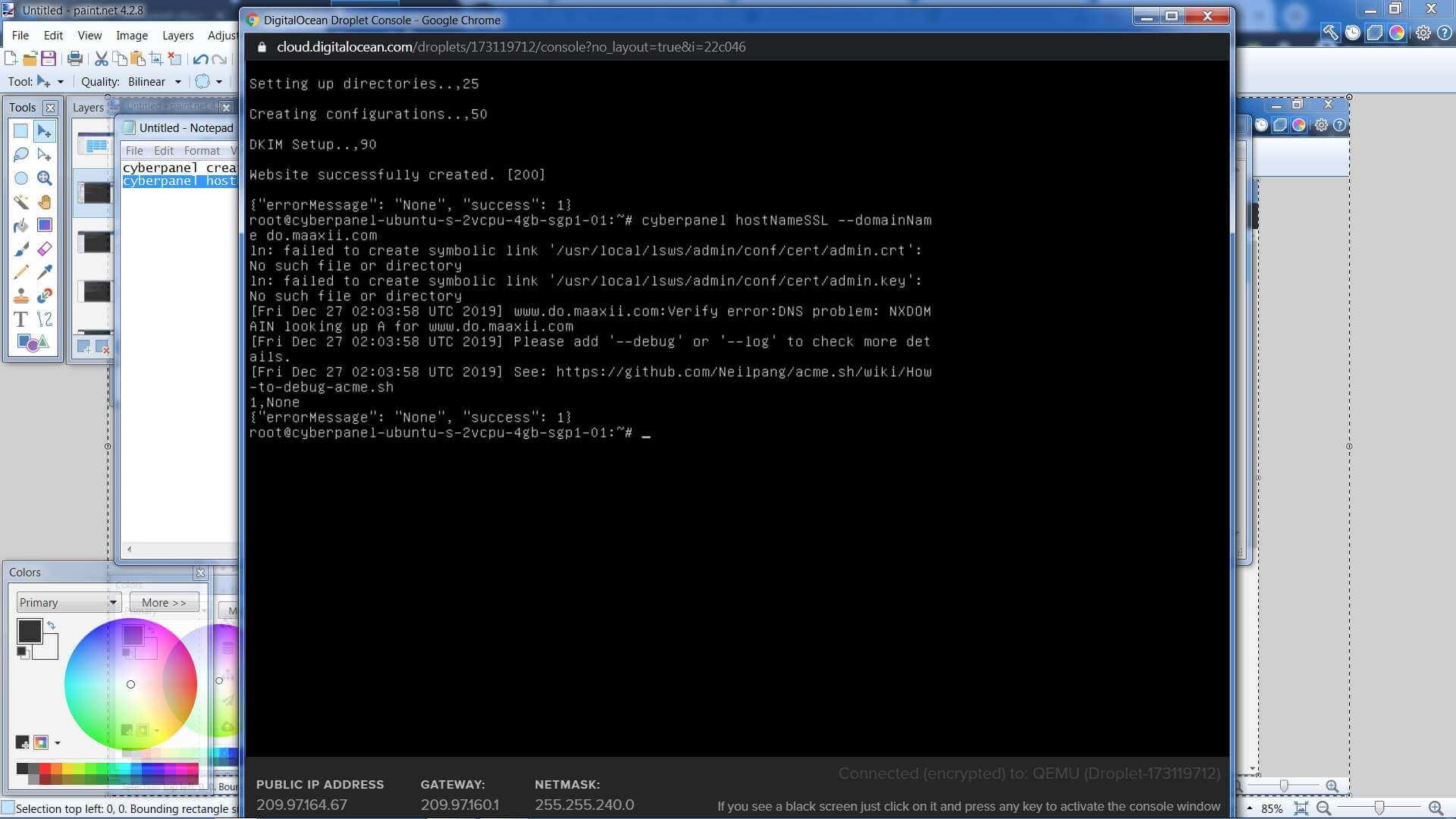 Digital Ocean Droplet CyberPanel CLI Install HostSSL