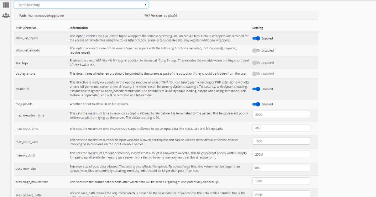CPanel MultiPHP INI Editor