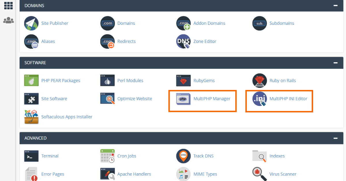 CPanel MultiPHP Manager & INI Editor