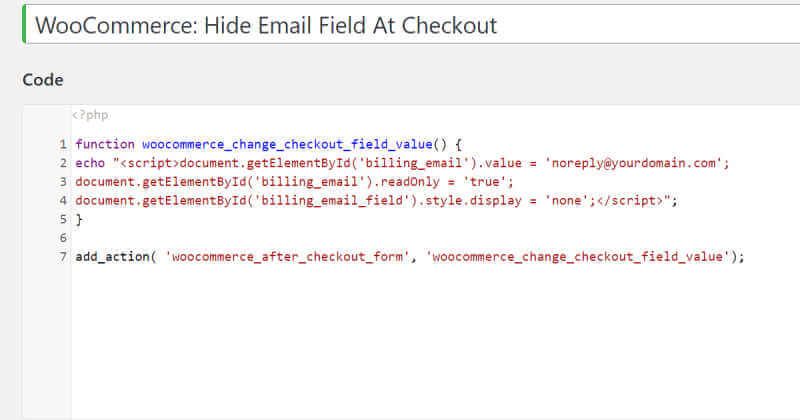 WooCommerce Checkout Email Field Hidden