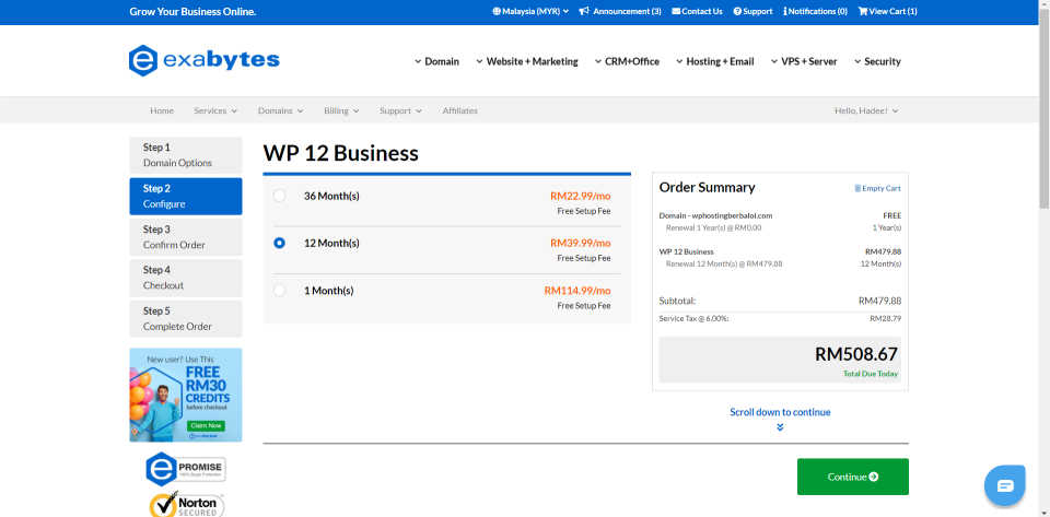 Exabytes WordPress Hosting WP12 Business Pricing